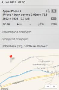 Geolocation Schäden Rinderweidstrasse Holderbank SO, 04. Juli, 2015