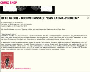 Buchvernissage im Comix Shop Basel: Das Karma-Problem