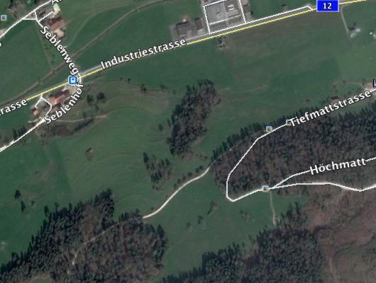 Flurstrasse, Abzweigung von Tiefmattstrasse nach Aegerter-Hof Richtung West
